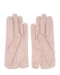 Mario Portolano - Pink Nappa Leather Gloves With Bow - Lyst