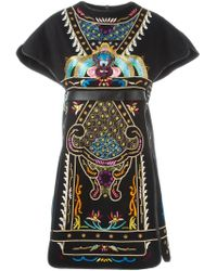 Valentino - Black Embroidered Dress - Lyst