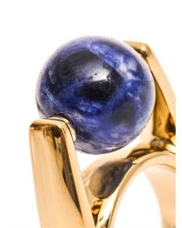 Chloé Blue Abby Lapis And Goldtone Ring
