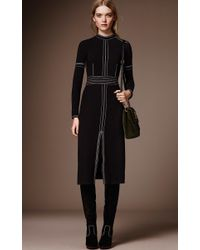 Burberry - Black Luggage Stitch Regimental Button Sheath Dress - Lyst