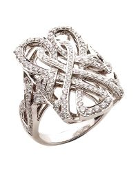 Biba | Metallic White Gold and Diamond Logo Filigree Ring | Lyst