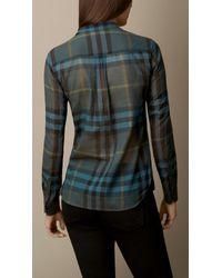 Burberry - Blue Check Cotton Smock Shirt - Lyst