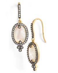 Freida Rothman Metallic 'metropolitan' Oval Stone Drop Earrings - Gunmetal/ Mother Of Pearl