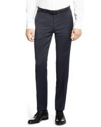 HUGO Blue Finely Patterned Extra-slim-fit 3-piece Suit In New-wool Blend: 'armento/wian/hawer' for men