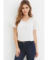 Forever 21 | Natural Lace-paneled Crepe Blouse | Lyst