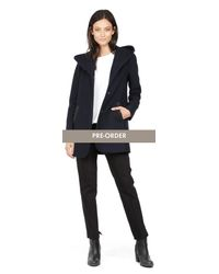 SOIA & KYO Blue Letizia Semi-fitted Wool Coat With Puffy Bib In Night