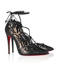 Christian Louboutin Black Impera Lasercut Leather and Pvc Pumps