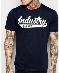 DIESEL Blue T-Shirt T-Fusae Industry Logo Print for men