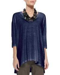 Eileen Fisher - Blue Arched Linen Tunic - Lyst