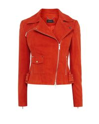 Karen Millen   Red Signature Suede Biker Jacket   Lyst