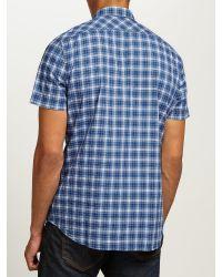 DIESEL | Blue S-jugo Check Short Sleeve Shirt for Men | Lyst