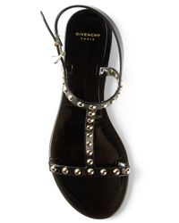 Givenchy - Black Studded Flat Sandal - Lyst