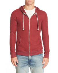 Threads For Thought Red Waffle Knit Thermal Zip Hoodie for men