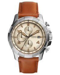 Fossil | Metallic Men's Chronograph Dean Light Brown Leather Strap Watch 45mm Fs5130 for Men | Lyst