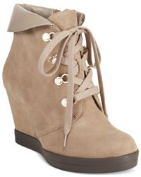 Anne Klein | Brown Joely Lace-up Wedge Booties | Lyst