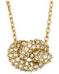 Michael Kors | Metallic Gold-Tone Clear Pavé Knot Pendant Necklace | Lyst