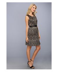 Ellen Tracy Metallic Bonded Lace Sleeveless Dress W Belt