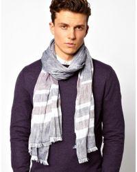 Esprit - Gray Stripe Woven Scarf for Men - Lyst