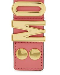 Moschino | Blush Pink Leather Gold-plated Cuff | Lyst