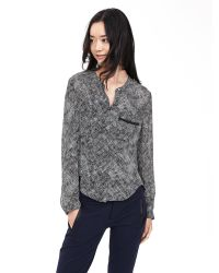 Banana Republic | Gray Printed Pieced-stripe Blouse | Lyst