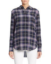 Equipment Black Reese Plaid Silk Shirt
