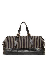 John Varvatos | Natural Striped Ramie & Cotton Canvas Duffle Bag for Men | Lyst