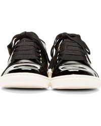 Lanvin | Black Leather Ribbon Laces Sneakers | Lyst