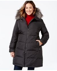 Calvin Klein | Gray Plus Size Hooded Faux-fur-trim Quilted Down Puffer Coat | Lyst