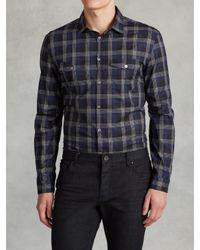 John Varvatos | Blue Military Inspired Slim Fit Shirt for Men | Lyst