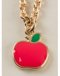 Marc By Marc Jacobs Red 'bow Tie With Apple' Necklace