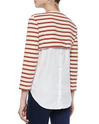 Veronica Beard - Natural Anchor Combo Striped Jersey And Cotton Poplin Top - Lyst