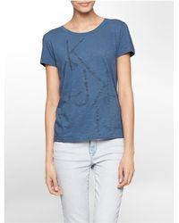 Calvin Klein | Blue Jeans Rhinestone Reverse Logo Cotton Modal Slub T-shirt | Lyst