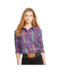 Ralph Lauren - Green Plaid Cotton Shirt - Lyst
