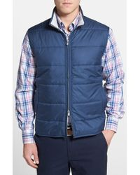 Peter Millar | Blue 'cumberland' Wind Resistant Quilted Zip Vest for Men | Lyst