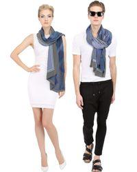 Contileoni - Blue Printed Silk Crepe De Chine Scarf - Lyst