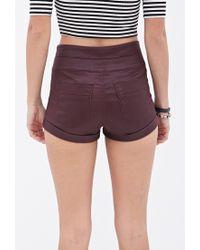 Forever 21 - Purple High-rise Denim Shorts - Lyst
