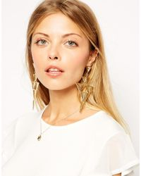 ASOS Metallic Cage Triangle Chandelier Earrings