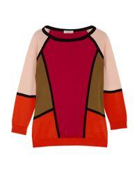 Etro Orange Colorblock Cotton Sweater