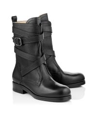 Jimmy Choo Dalston Flat Black Grainy Leather Biker Boots