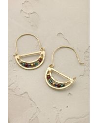 Anthropologie - Multicolor Jewelled Crescent Earrings - Lyst