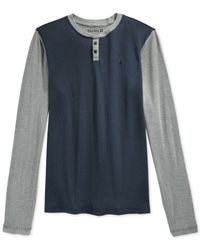 Hurley | Gray Orange Street Long-sleeve Henley for Men | Lyst