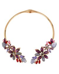 Betsey Johnson | Purple Multi-stone Flower Collar Necklace | Lyst