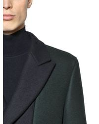 Z Zegna Blue Two Tone Wool Coat for men