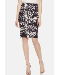 Vince Camuto | Gray Floral Print Scuba Knit Pencil Skirt | Lyst