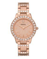 Fossil | Pink 'jesse' Crystal Embellished Bracelet Watch | Lyst