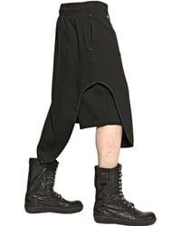 Tom Rebl Black Paneled Viscose Jersey Shorts for men