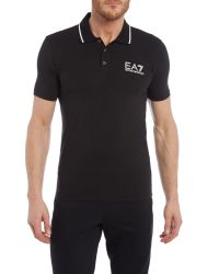 EA7 - Black Core Id Stretch Short Sleeve Polo Shirt for Men - Lyst