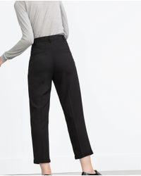 Zara | Black Loose Fit Trousers | Lyst