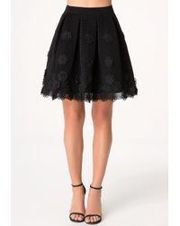 Bebe Black Applique Flower Skirt