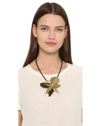 Marni - Metallic Leather Necklace - Millet - Lyst